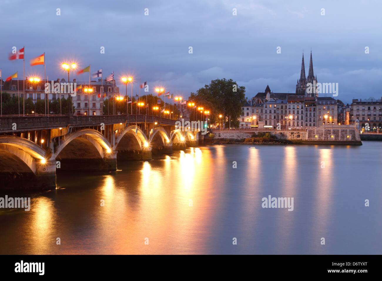 Blue hour in Bayonne, Aquitaine, France. - Stock Image