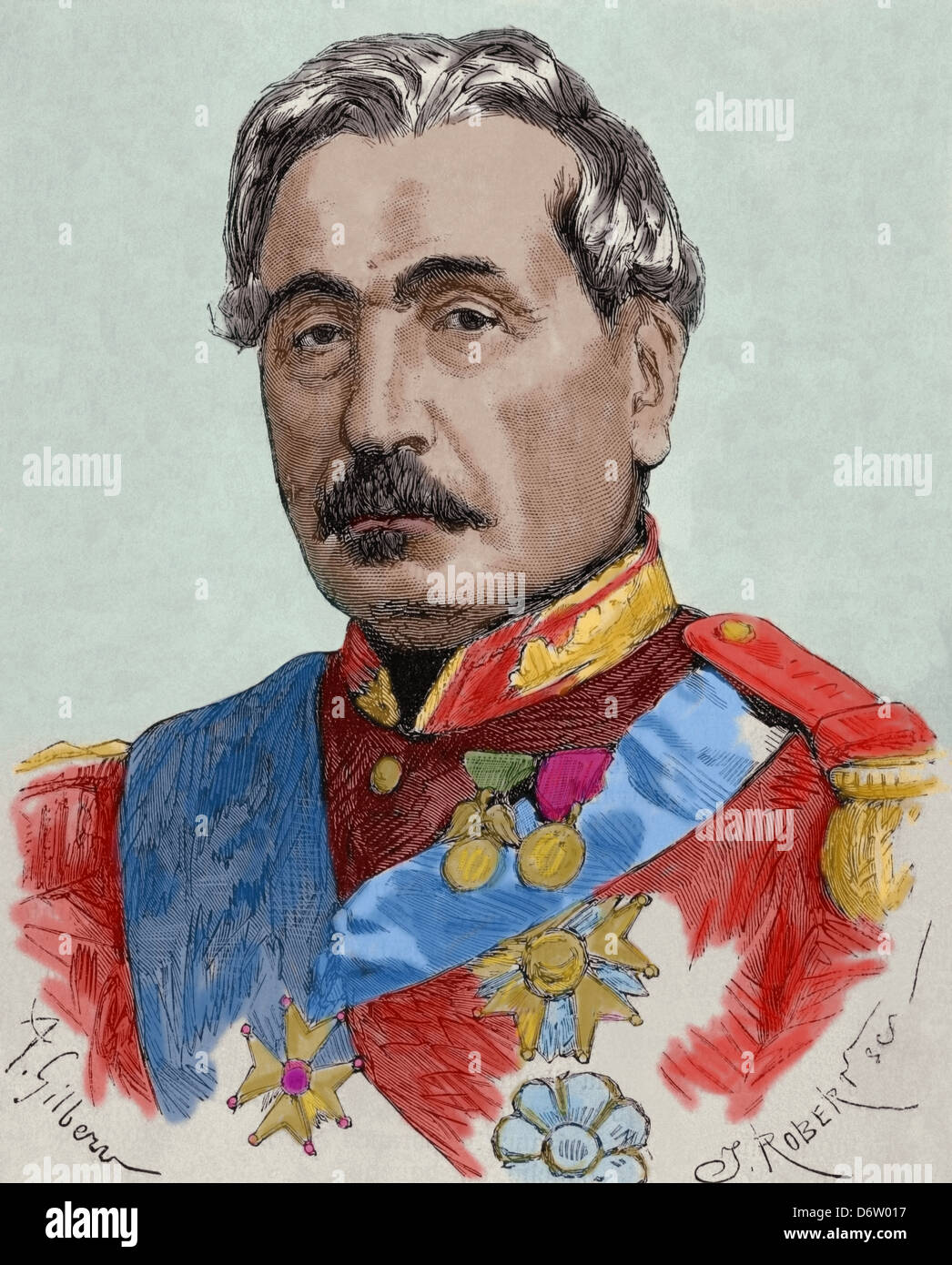 Charles Cousin-Montauban (1796-1878). French general and statesman. Engraving by Robertsen. Colored. - Stock Image