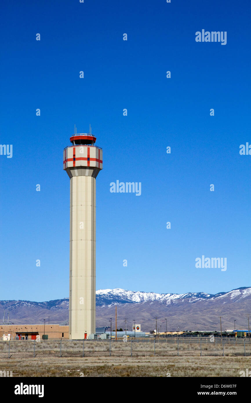 Air traffic control tower at the Boise airport, Ada County, Idaho, USA - Stock Image