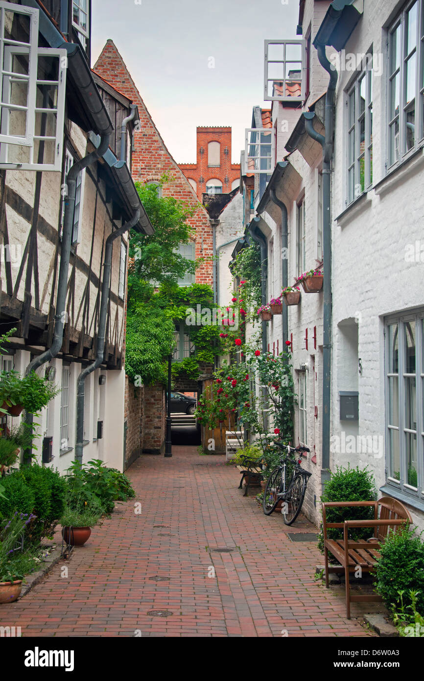 Houses in the Bäcker alley / Bäckergang, Hanseatic town Lübeck, Schleswig-Holstein, Germany - Stock Image