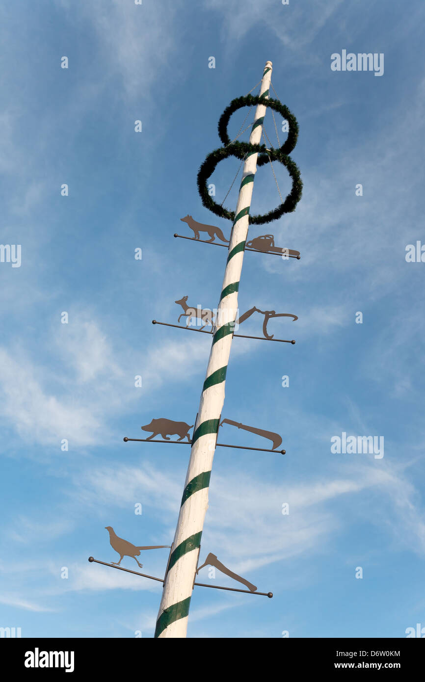 Rain, Germany, an all year round standing Maypole - Stock Image
