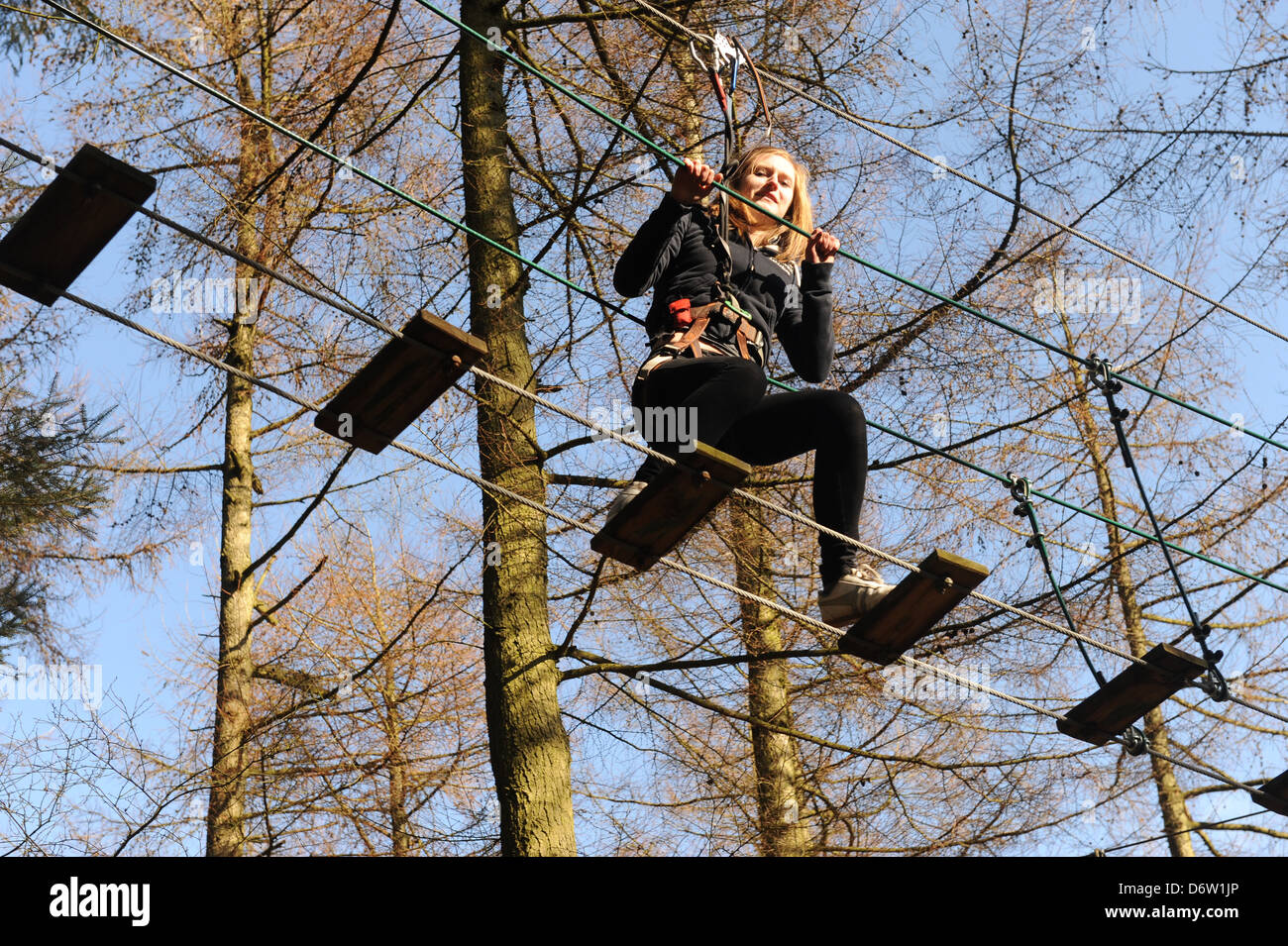 teenage girls doing the obstacle course at Dalby Forest, north yorkshire, uk - Stock Image