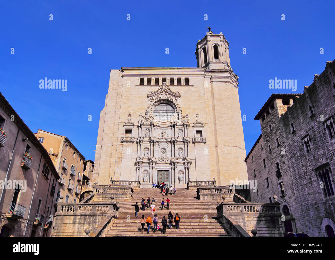 Cathedral in Girona - beautiful spanish city in the province of Catalonia Stock Photo