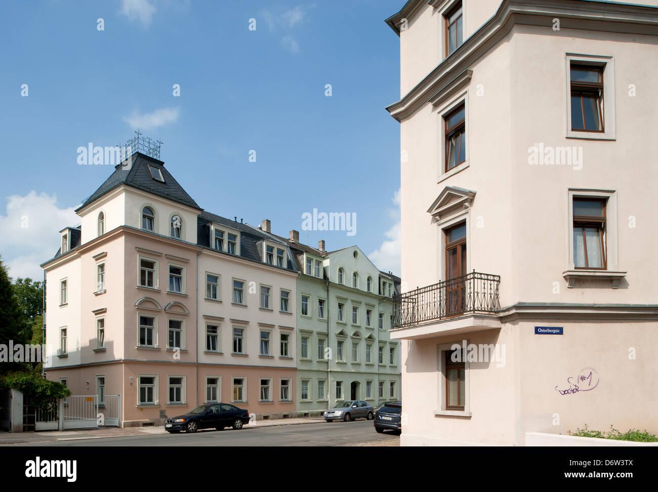 Dresden, Saxony, Gruenderzeit-residential buildings in Dresden-Pieschen Stock Photo