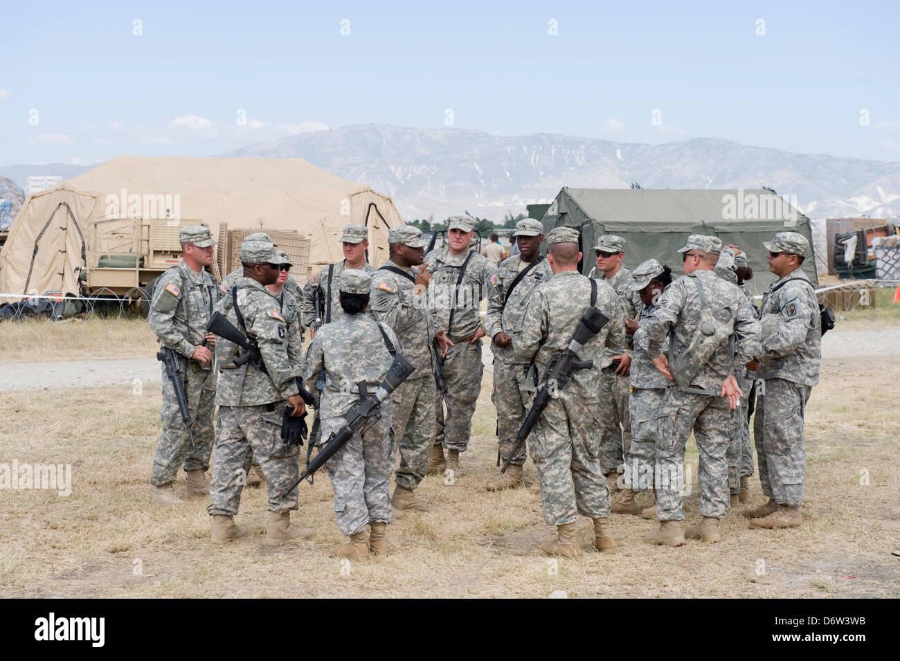 US Army at Port au Prince airport after the 2010 earthquake, Port au Prince, Haiti, Caribbean - Stock Image