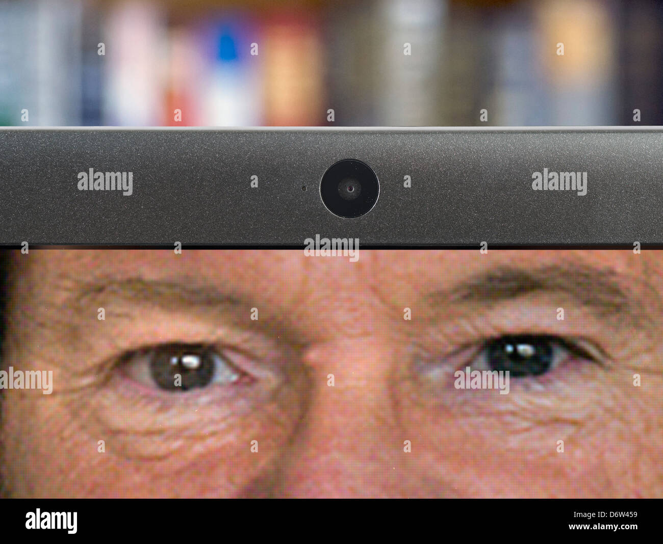Using the webcam on a laptop computer - Stock Image