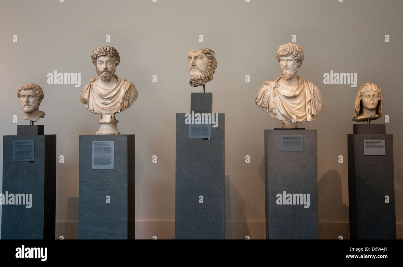 Busts of Roman Emperors in the Metropolitan Museum of Art, (Met) New York City USA Stock Photo