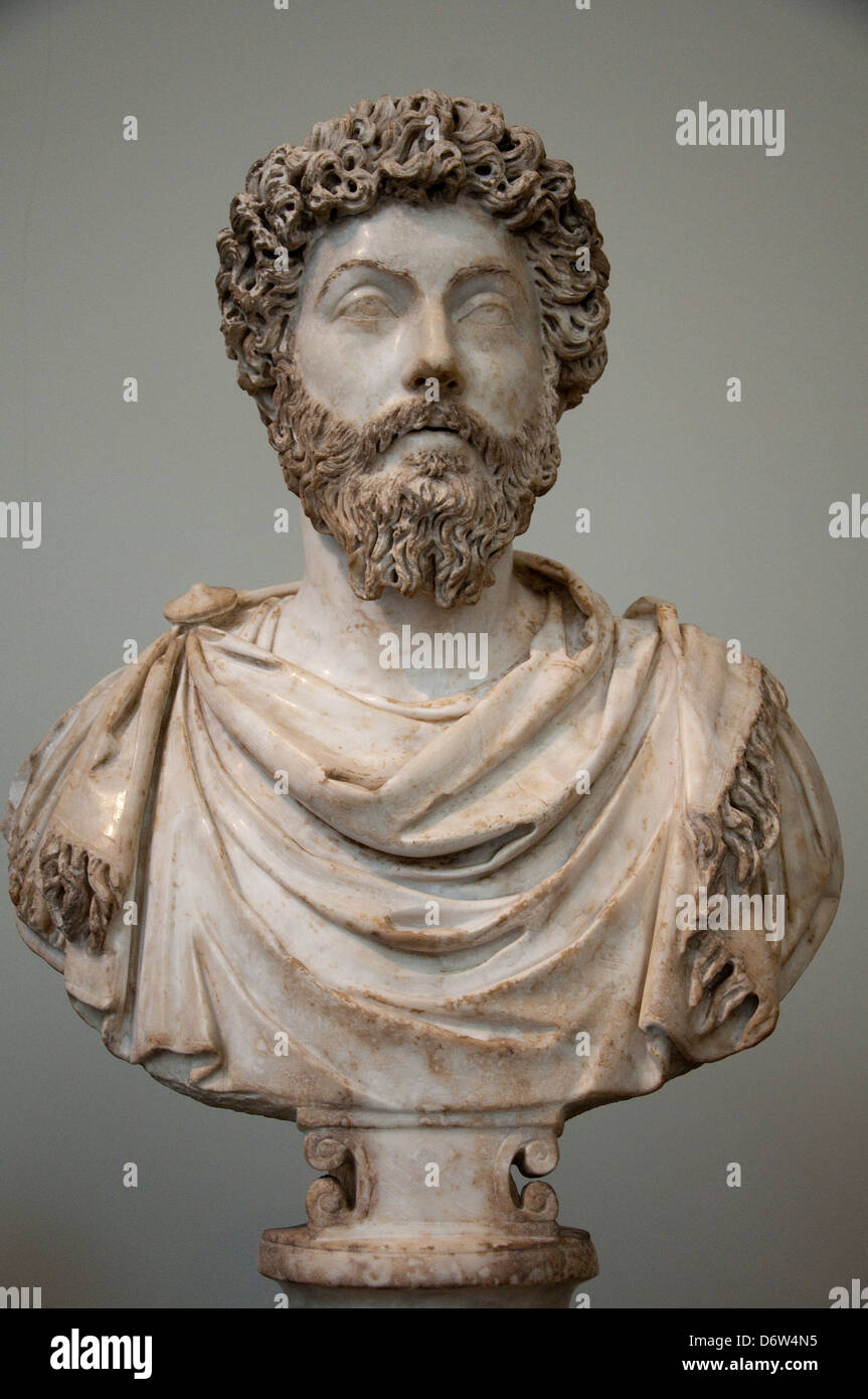 A bust of Marcus Aurelius in the Metropolitan Museum of Art, (Met) New York City USA Stock Photo