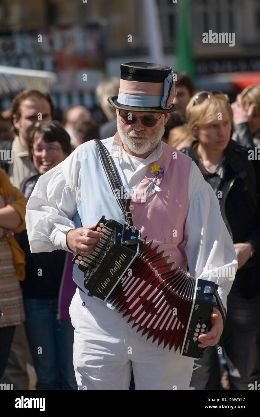 Accordian player with morris dancing team at  Oxford Folk Weekend Oxford UK - Stock Image