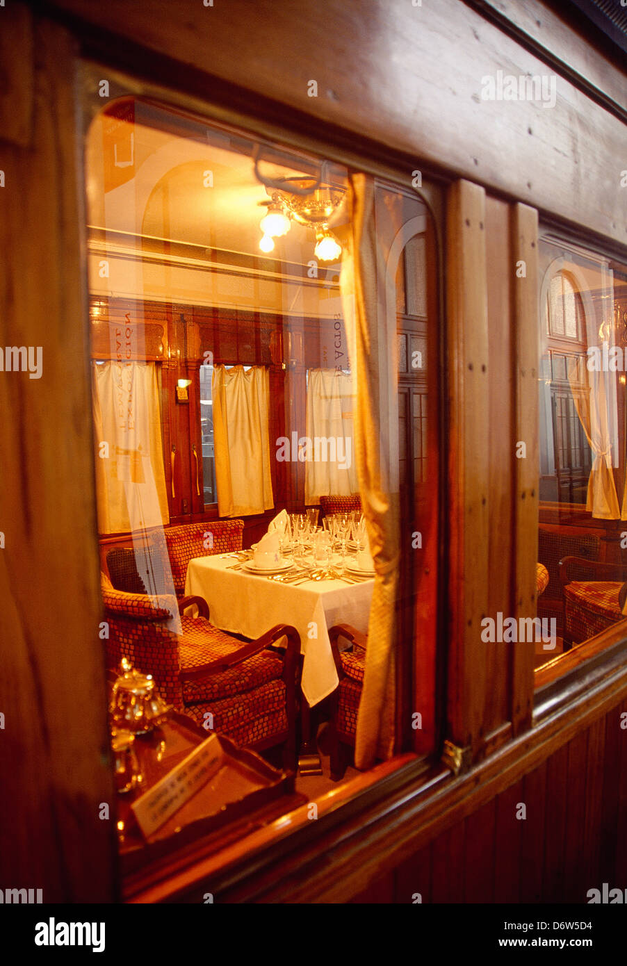 Old restaurant car, view from the window. Delicias Railway Station, Railway Museum, Madrid, Spain. - Stock Image