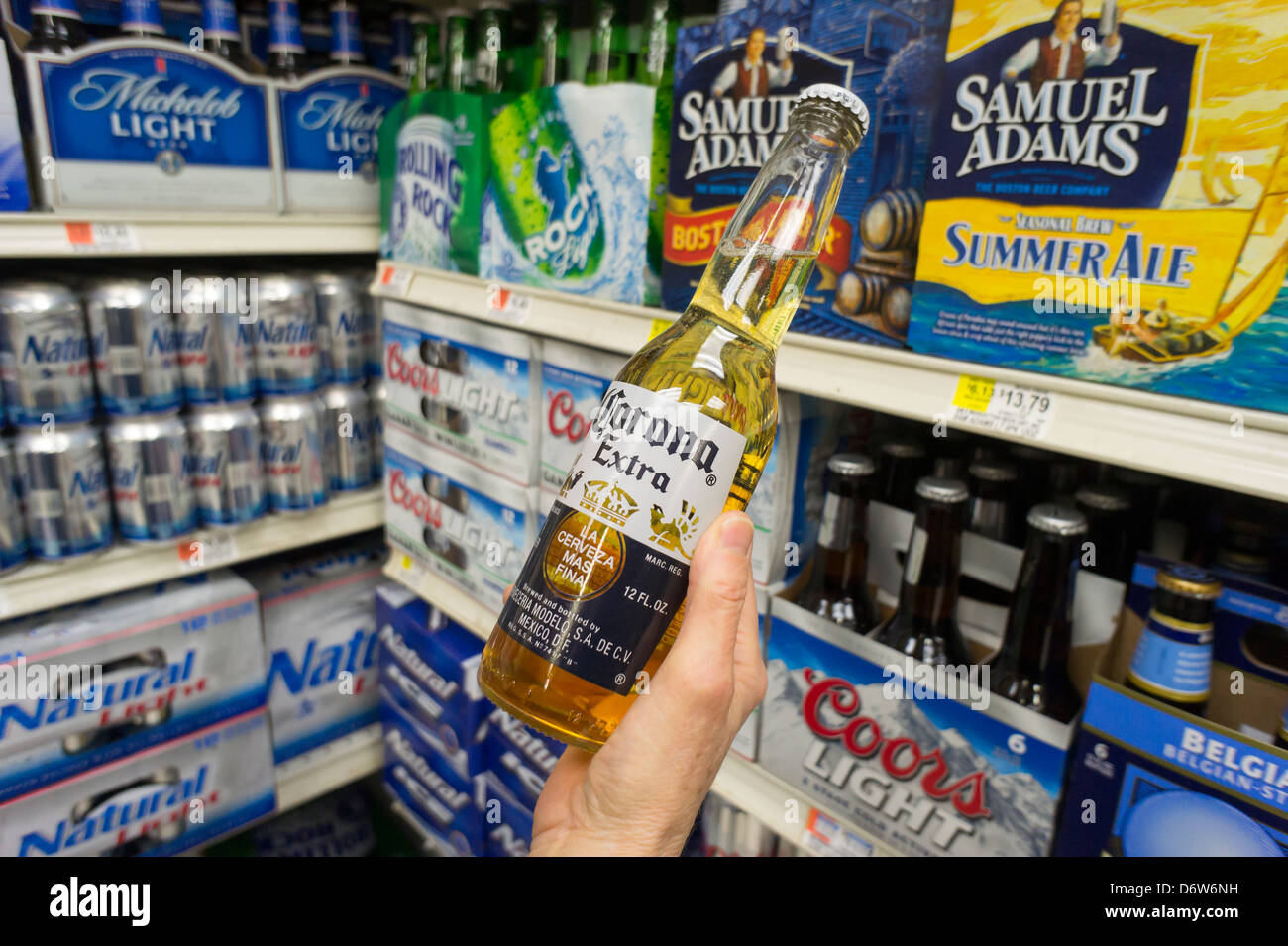 Bottle of imported from Mexico Corona beer - Stock Image