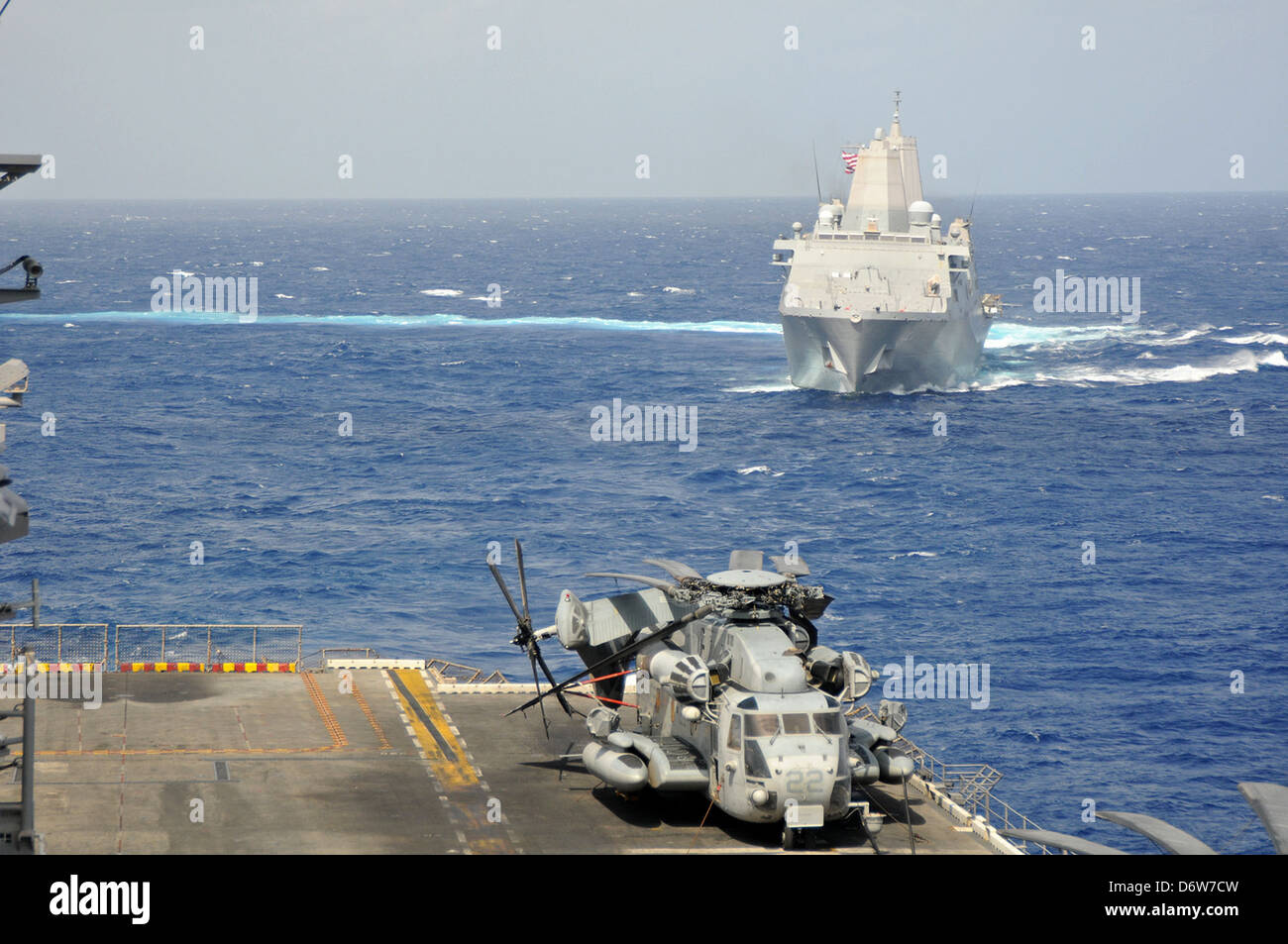 US Navy Amphibious dock ship USS Green Bay during operations April 23, 2013 in the Pacific Ocean. - Stock Image