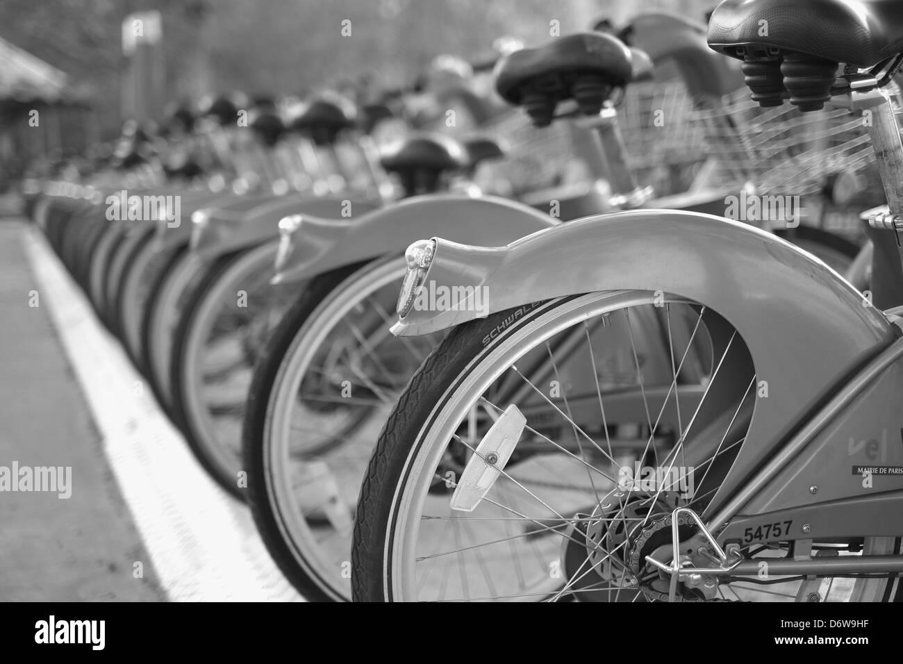Paris Velib, Paris bicycles, cycle Paris - Stock Image