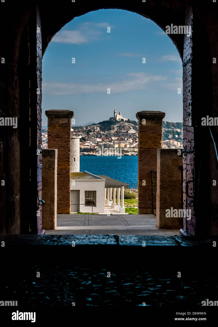 Marseille - France: Chateau D'If - architectural detail with Marseille chathedral in the background - Stock Image