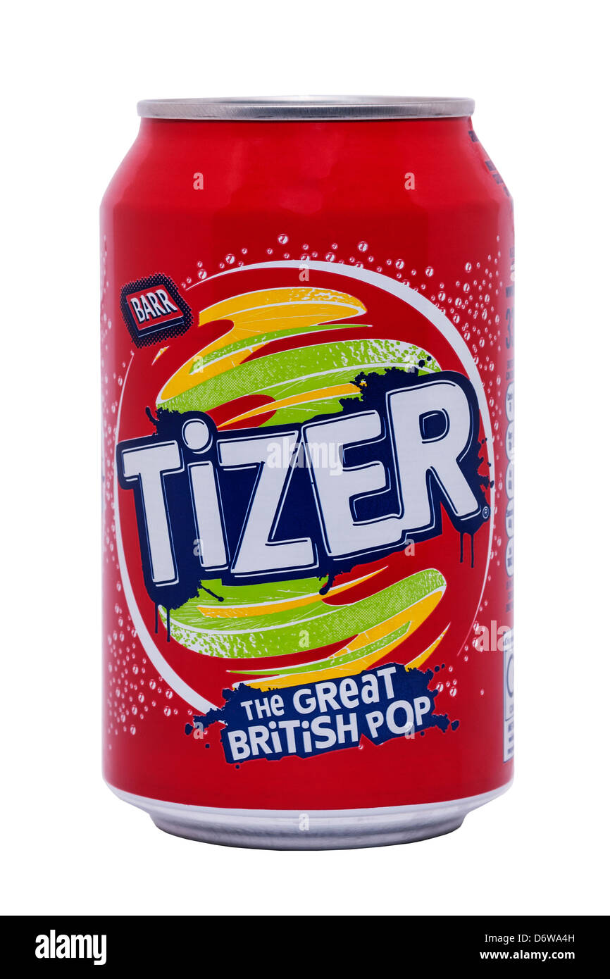 A can of Barr Tizer on a white background - Stock Image