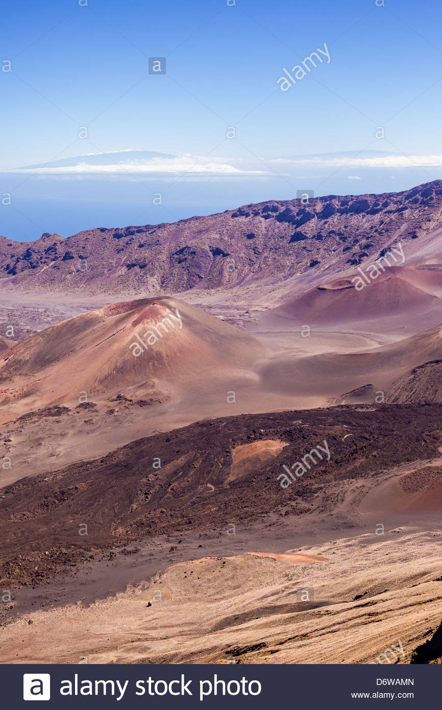 Cinder cones in the crater of volcano Haleakala in Haleakala National Park on the island of Maui in the State of - Stock Image