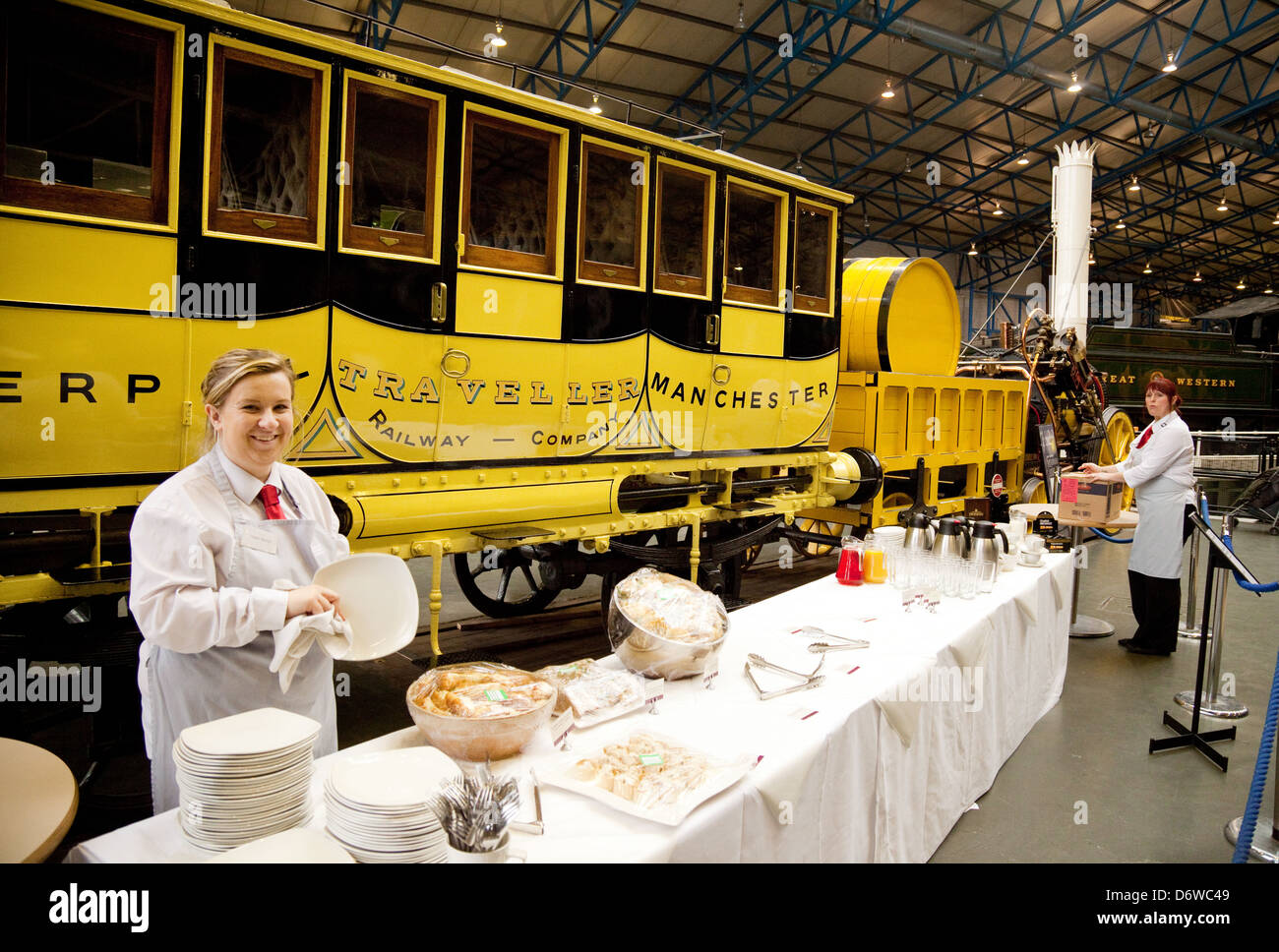Cheerful catering staff at the National Railway Museum, York, Yorkshire UK - Stock Image