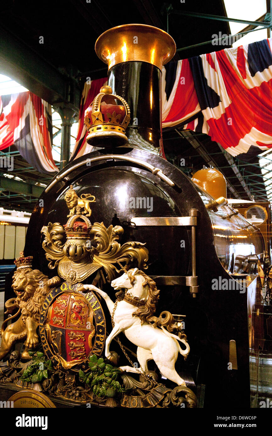 An old steam engine in the National Railway Museum, York, UK - Stock Image