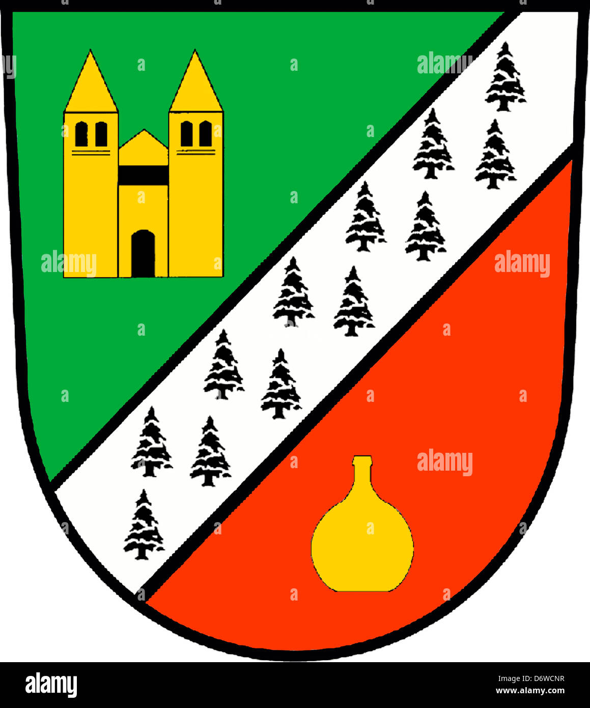 Coat of arms of the German city Baruth in Brandenburg. - Stock Image