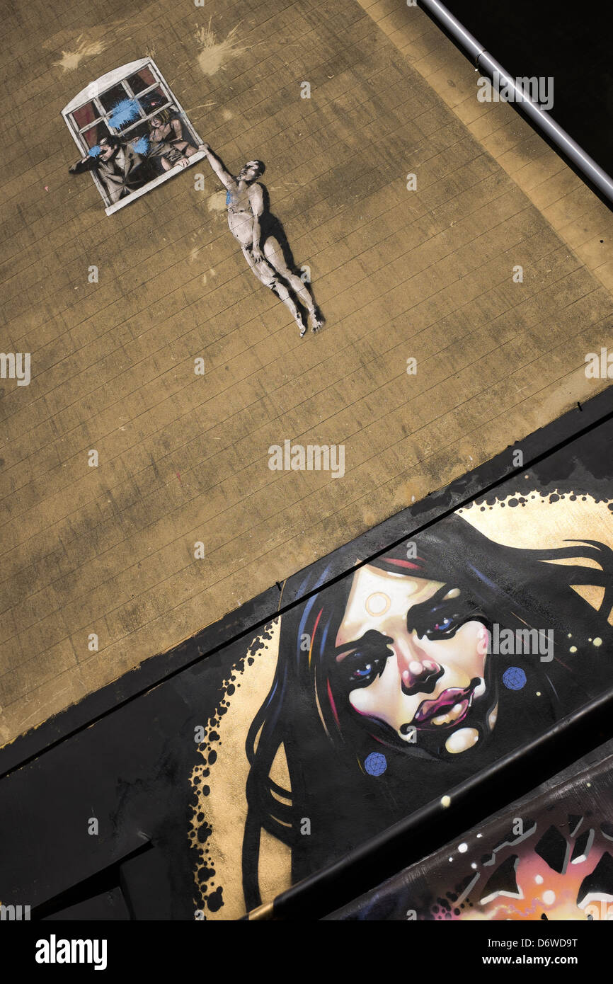 Banksy 'Love Cheat' Mural at the junction of Frogmore and Park Street Bristol - Stock Image