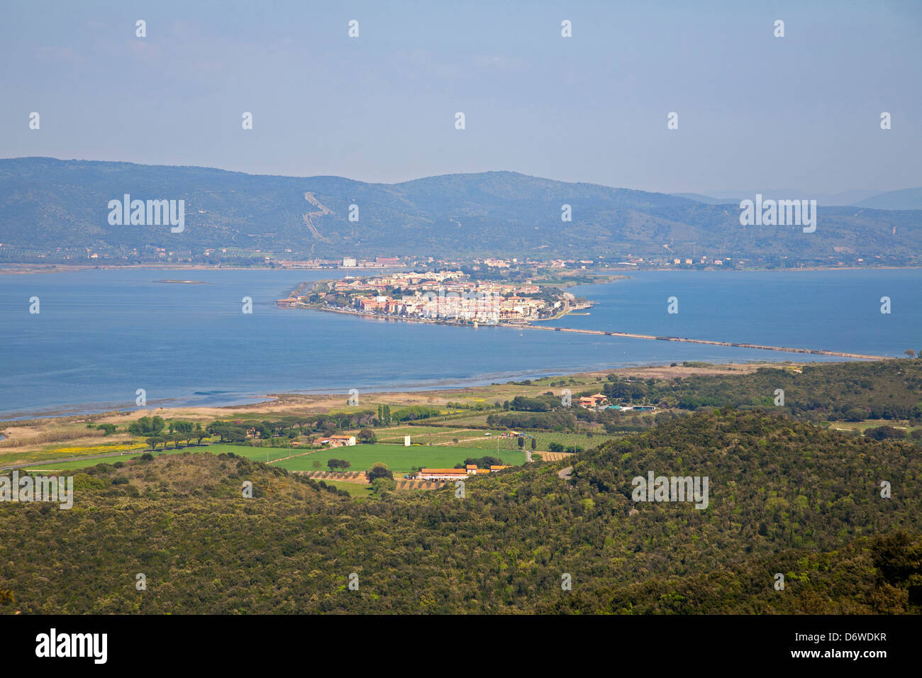 europe, italy, tuscany, maremma, argentario, view of the lagoon of orbetello - Stock Image