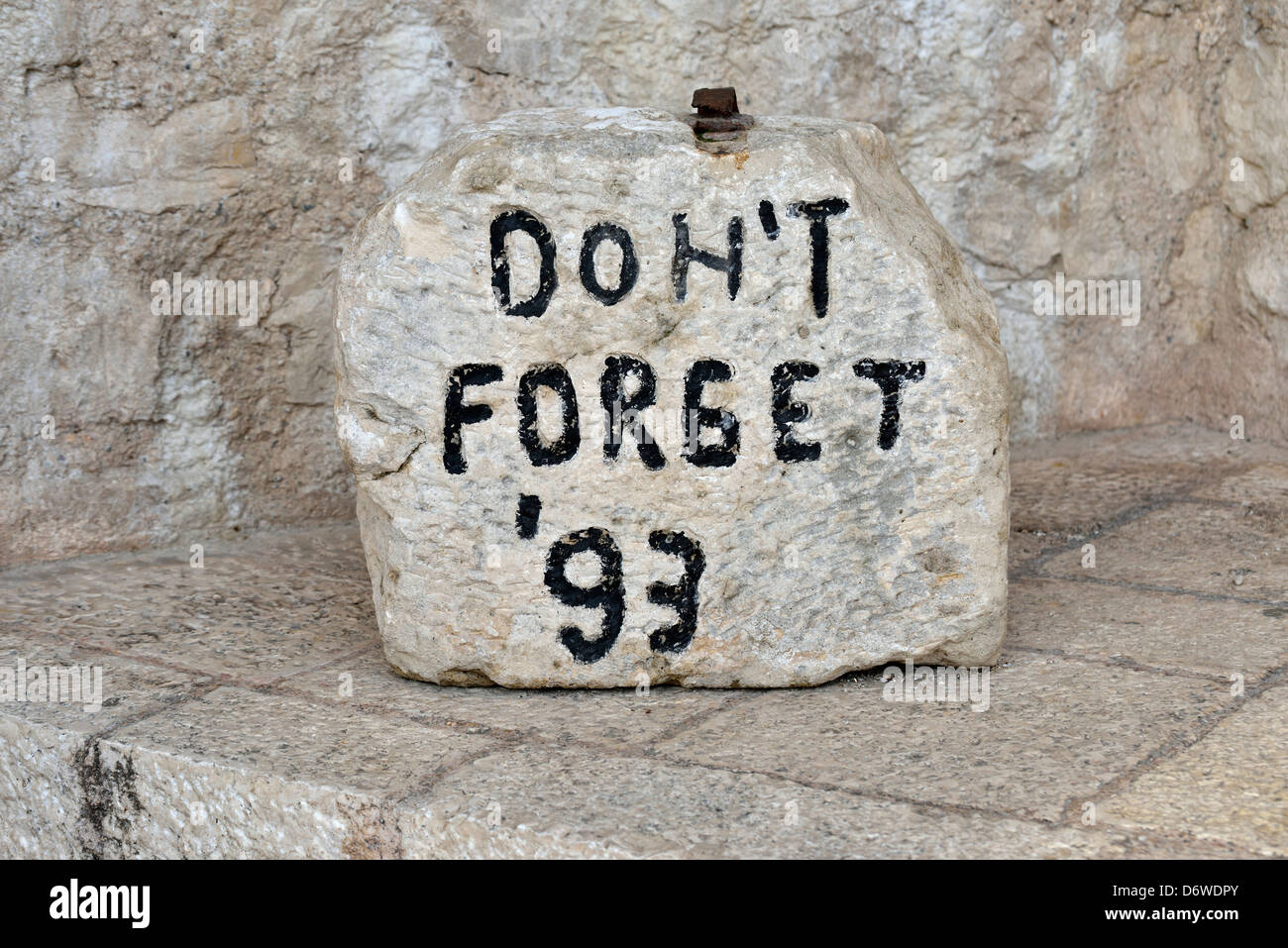 Monument commemorating the shelling and destruction of the Old Bridge by Croat artillery, Mostar, Bosnia and Herzegovina - Stock Image