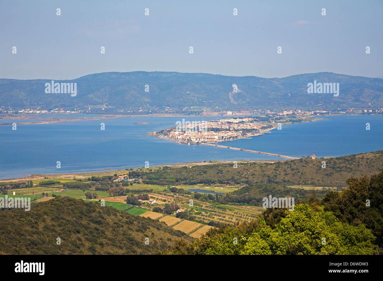 lagoon of orbetello, argentario, maremma, tuscany, italy, europe - Stock Image