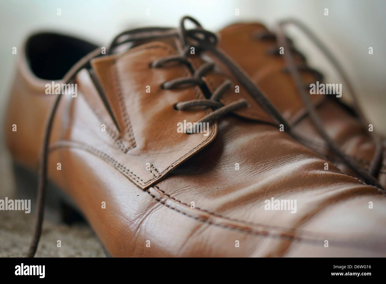 Men's Shoes, Brown Leather with Laces - Stock Image