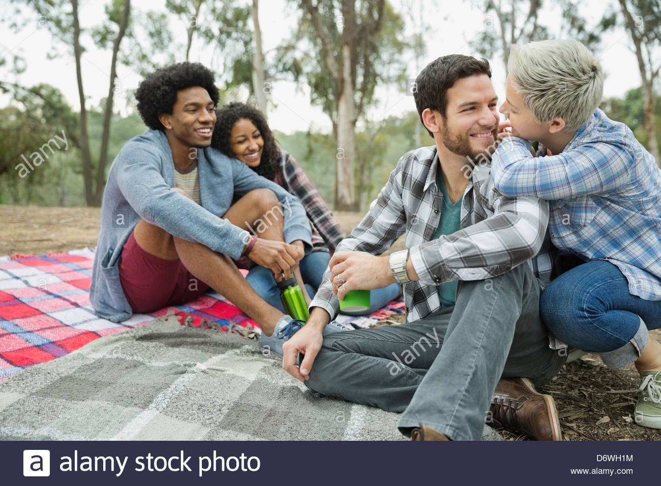 Happy couples spending leisure time together on blanket - Stock Image