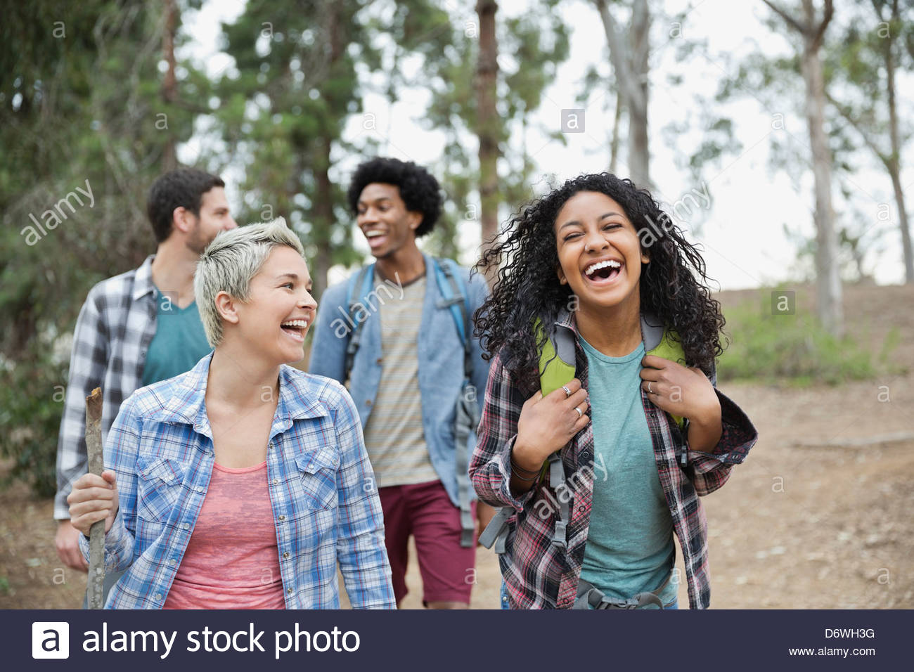 Cheerful multi-ethnic friends hiking together in forest - Stock Image