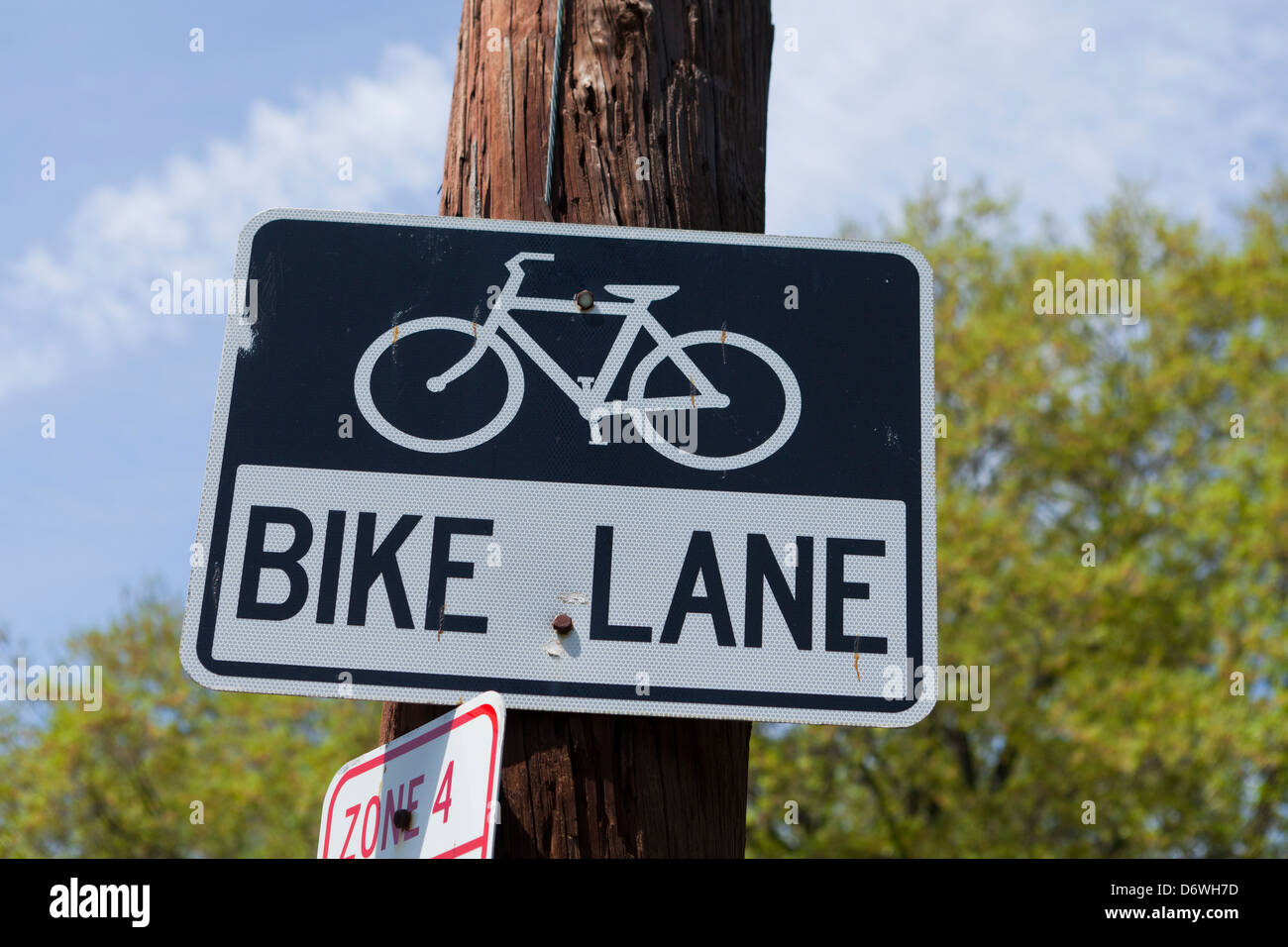 Bike Lane sign - USA - Stock Image