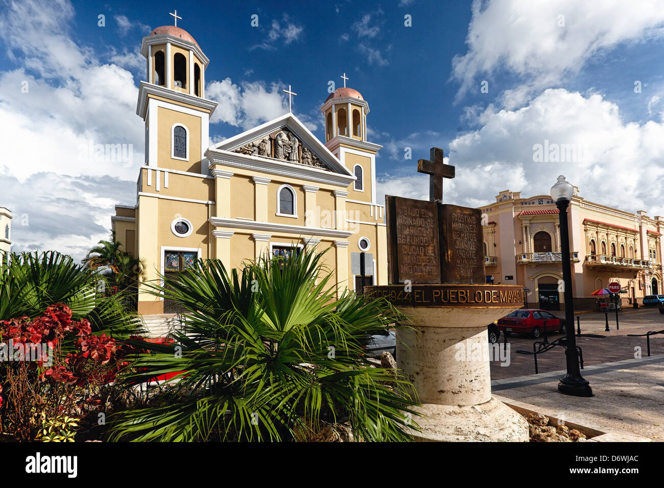 Puerto Rico, Mayaguez, Low Angle View of Our Lady of Candelaria Cathedral - Stock Image