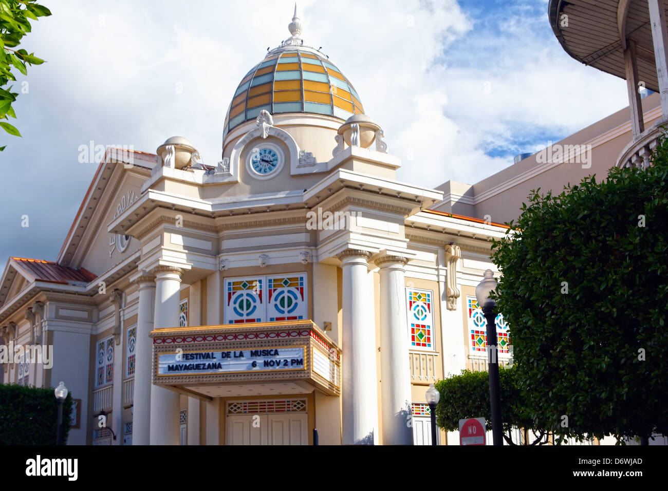 Puerto Rico, Mayaguez, Low Angle View of Mayaguez Theater - Stock Image