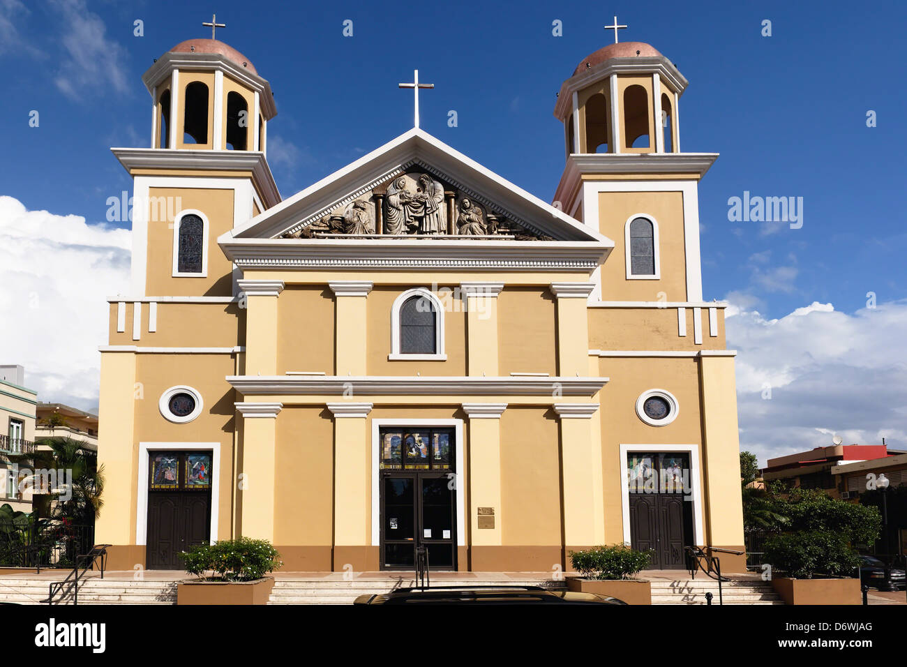 Puerto Rico, Mayaguez, Frontal  View of Our Lady of Candelaria Cathedral - Stock Image