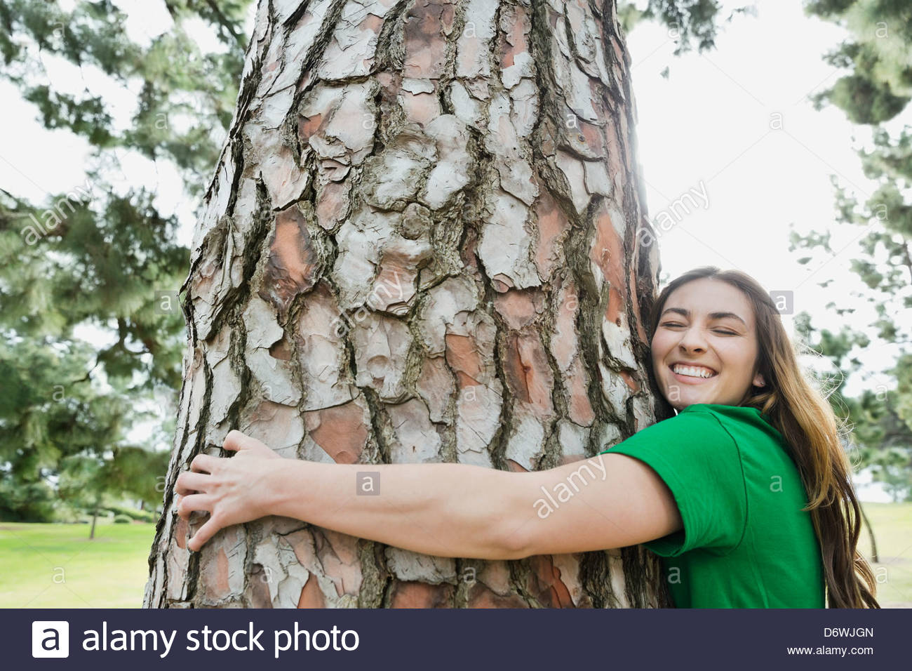 Side view of happy young woman hugging tree in park - Stock Image