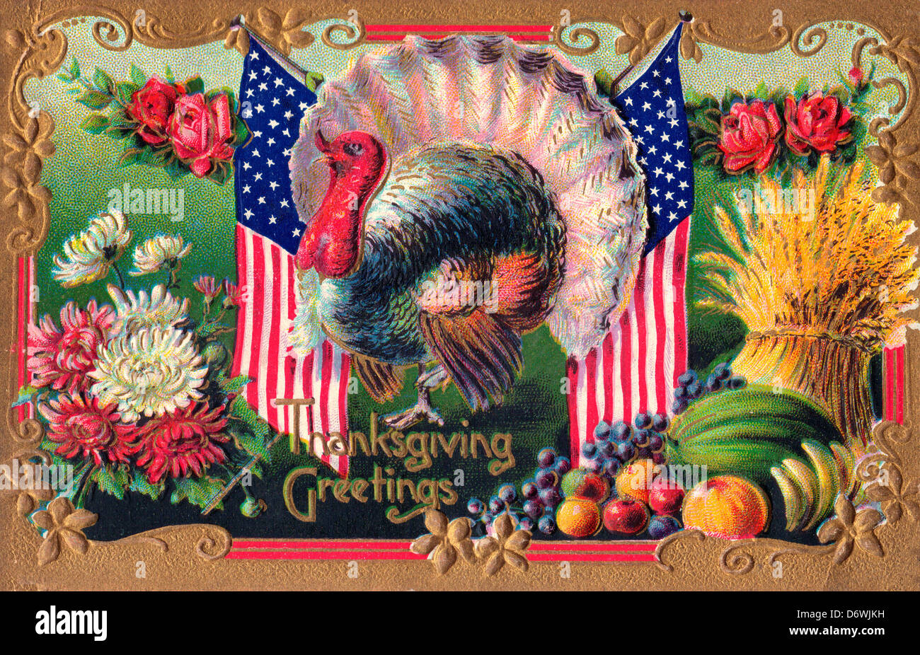 Thanksgiving Greetings - Turkey with American Flag, flowers fruits and hay - Stock Image