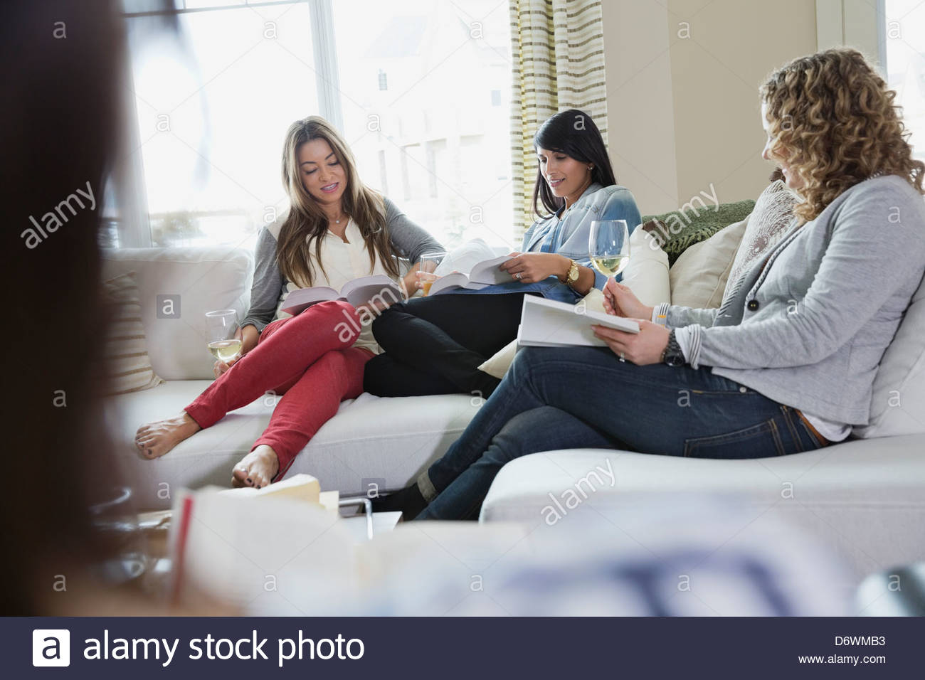 Mature women reading books during house party - Stock Image