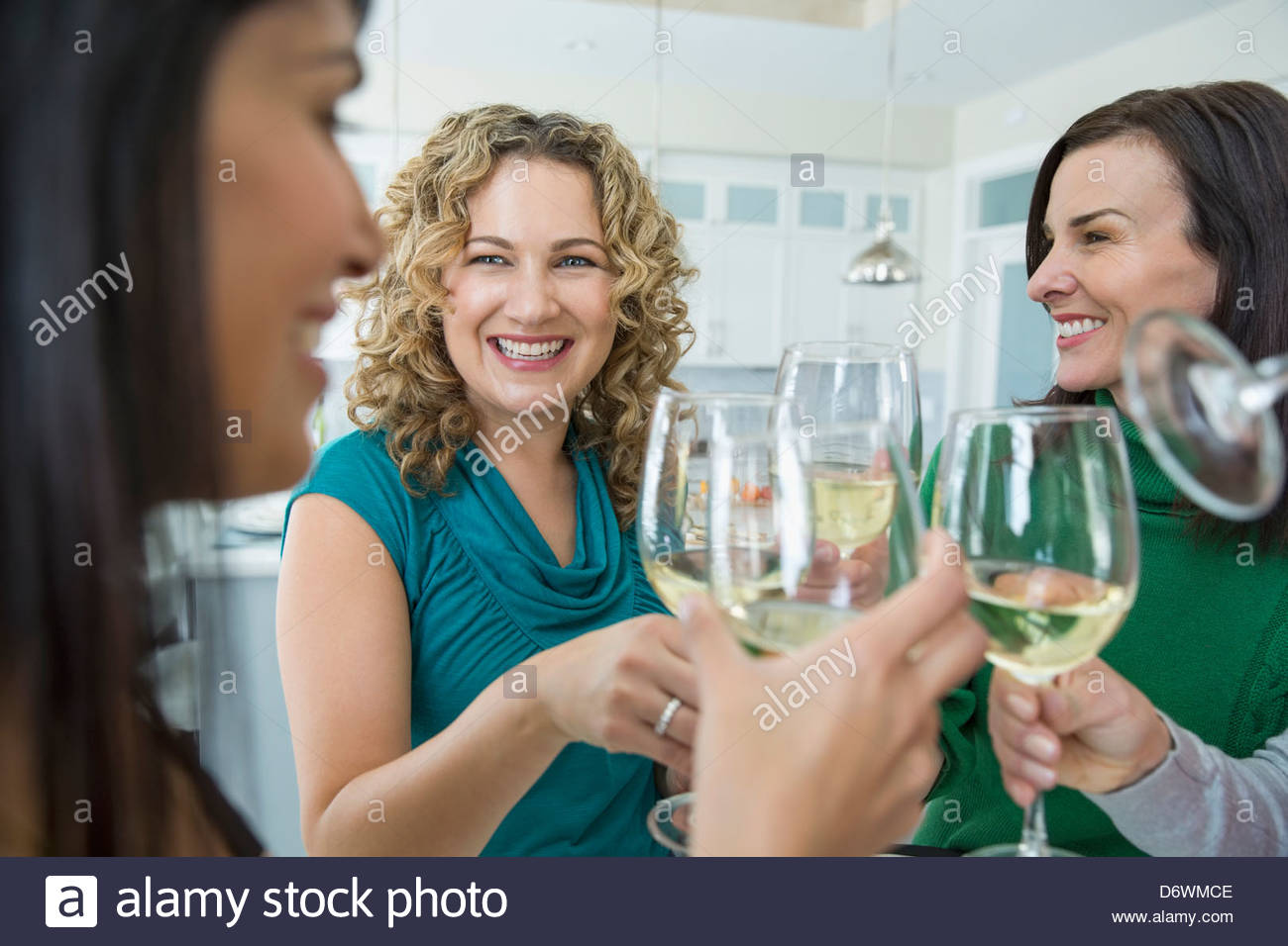 Happy female friends toasting wine at house party - Stock Image
