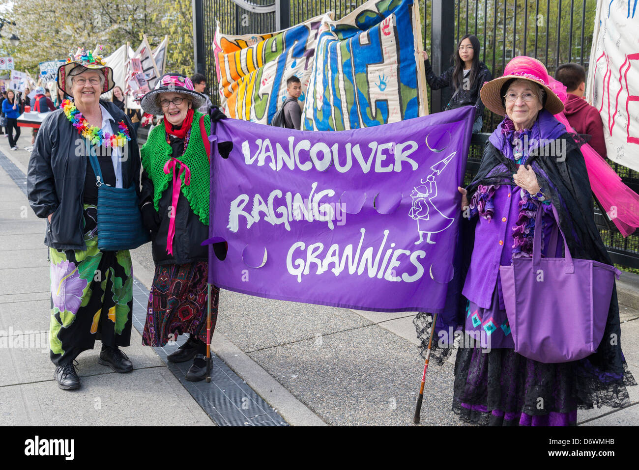 The Raging Grannies at Vancouver Earth Day Parade and Festival 2013, organised by 'Youth for Climate Justice - Stock Image