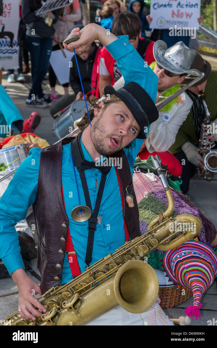 The Carnival Band entertain at the Vancouver Earth Day Parade and Festival 2013 - Stock Image