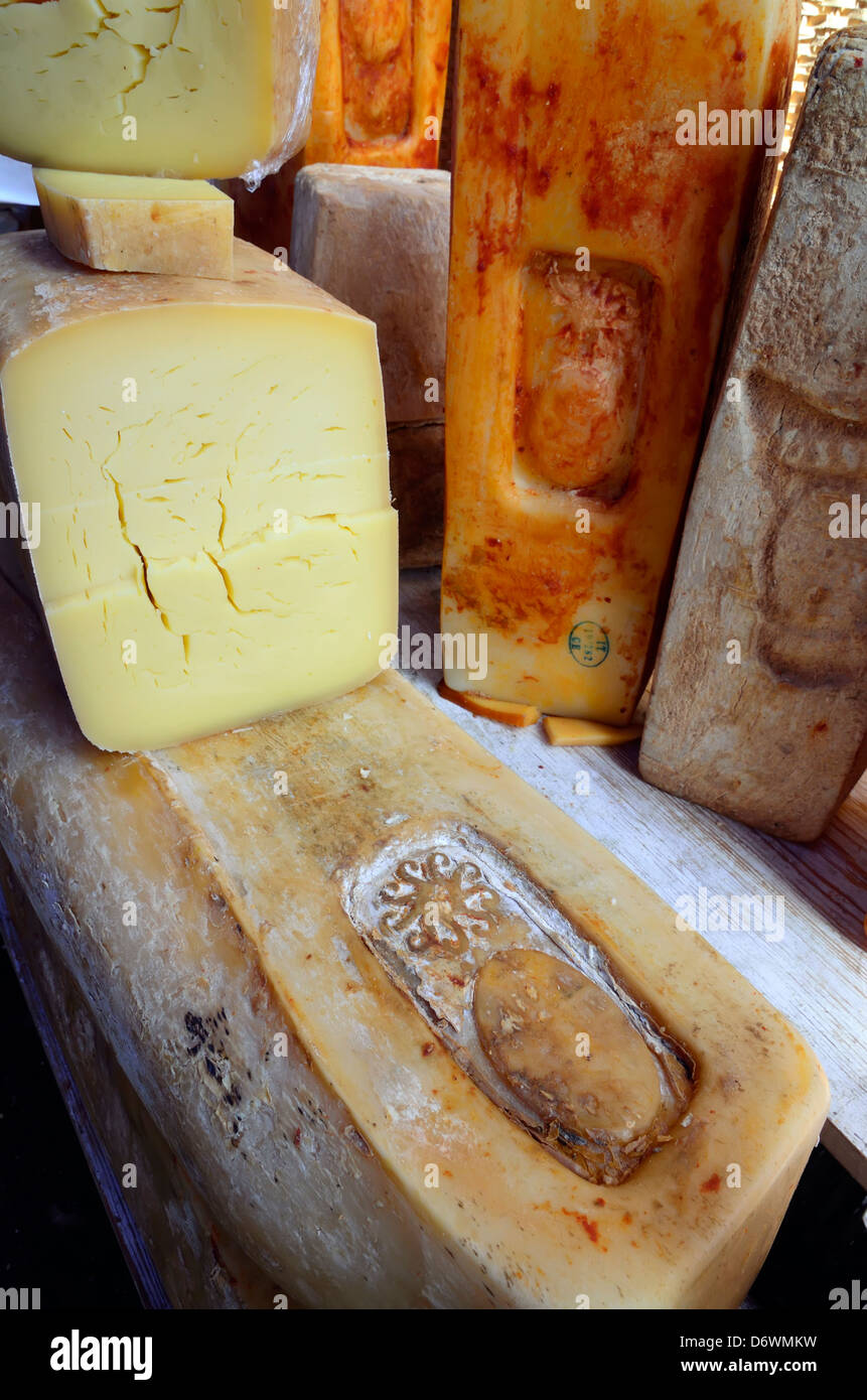 Cheese for sale in the market in the Ortygia section of Siracusa, Sicily, Italy. - Stock Image