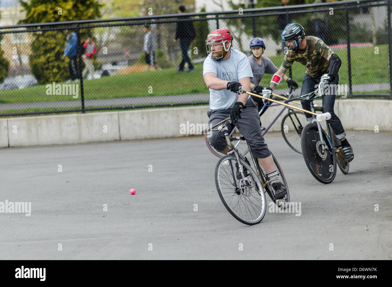 Bicycle polo match, Grandview Park, Vancouver, BC, Canada - Stock Image