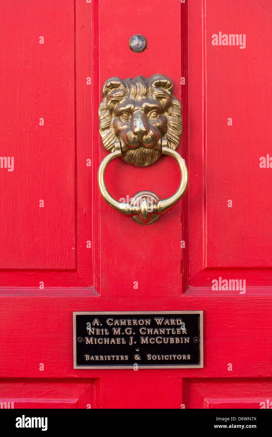 Barristers door with lion knocker. - Stock Image