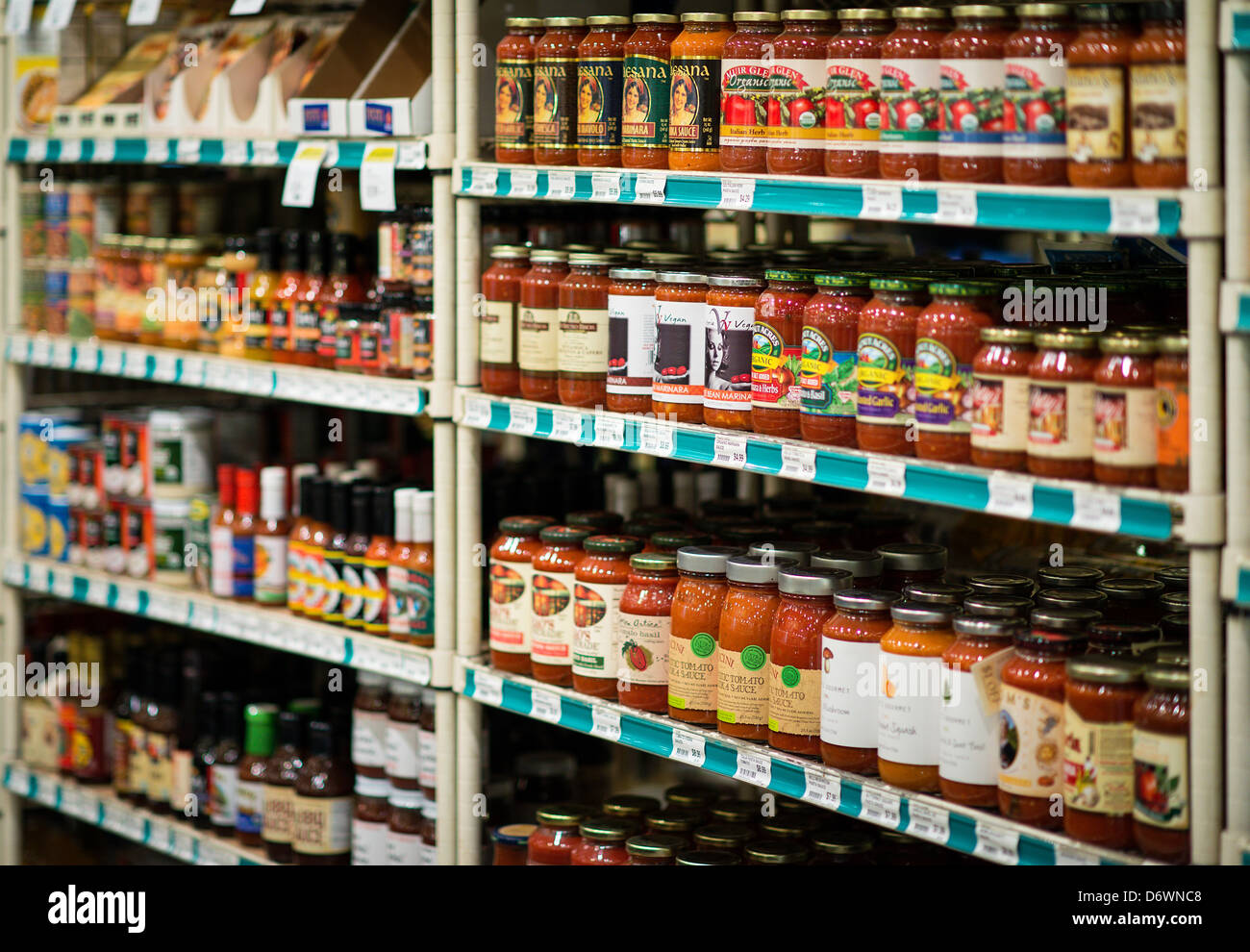 Specialty food store shelf. - Stock Image
