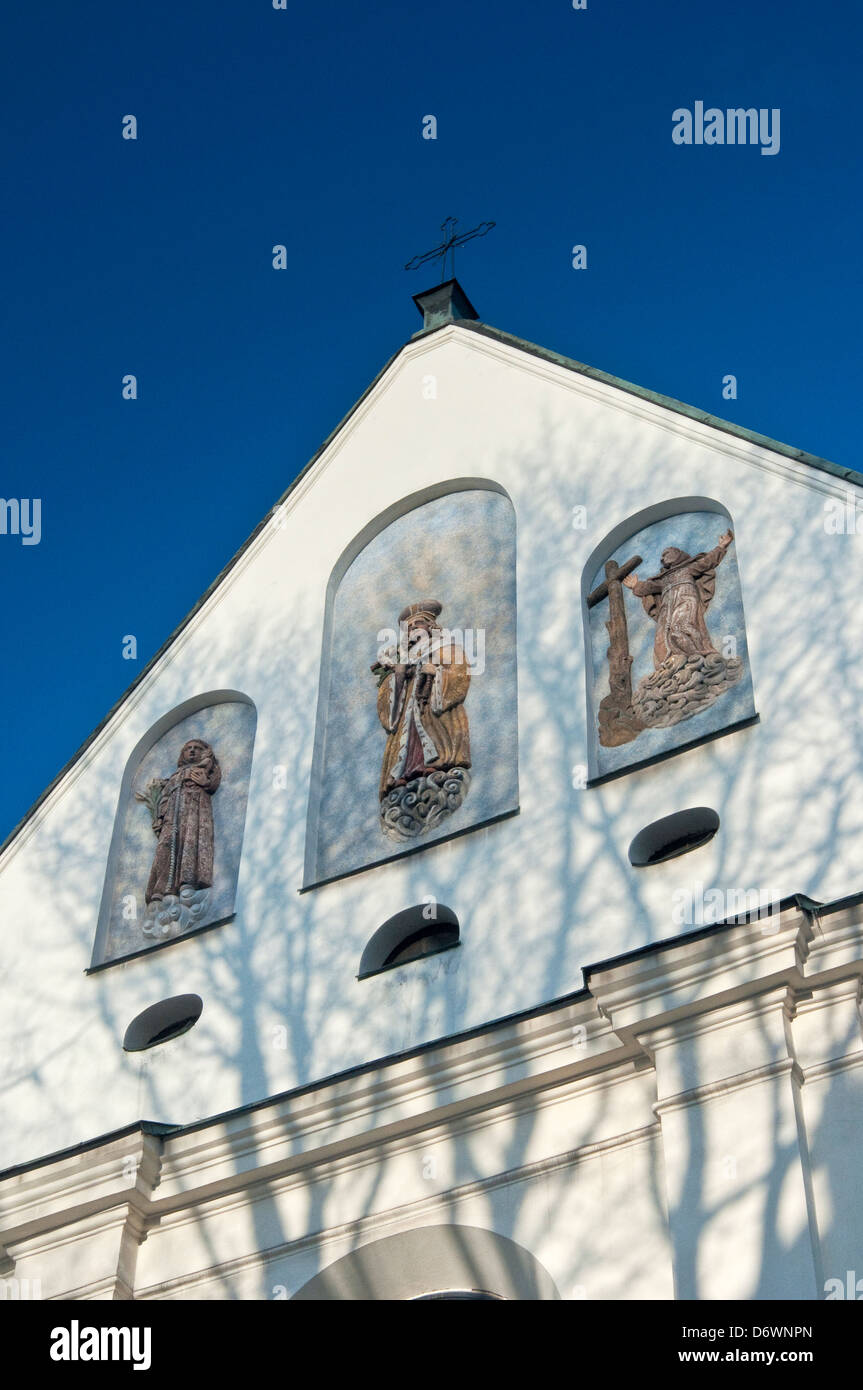 Detail of facade at St Casimir's Church in Krakow, Poland - Stock Image