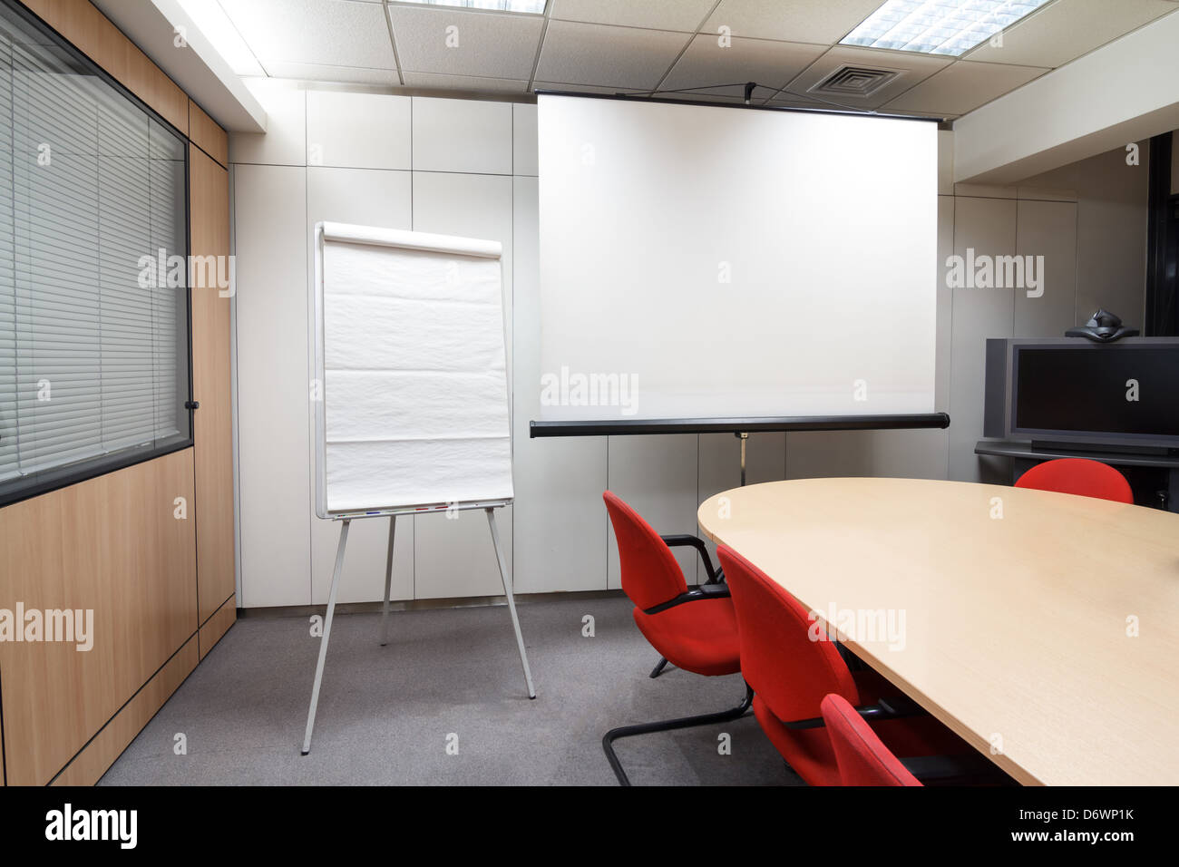 Blank Projector Screen And Flip Chart At The Meeting Room