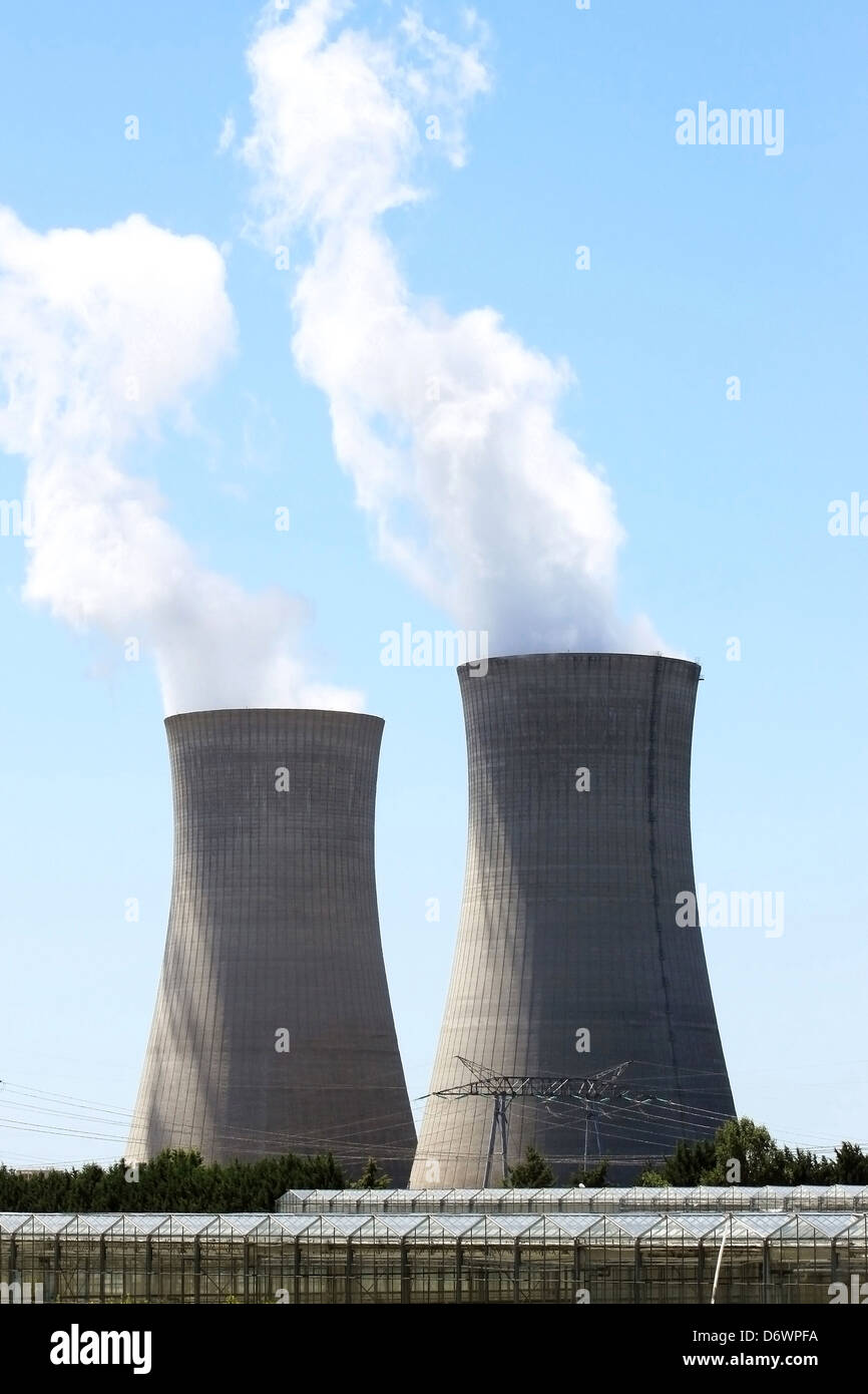 chimneys of nuclear power plant in operation - Stock Image