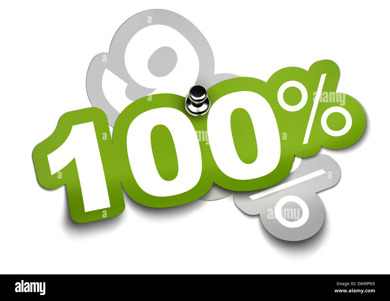 one hundred percent sticker fixed onto a ninety sticker by a thumbtack, color is green over a white background - Stock Image