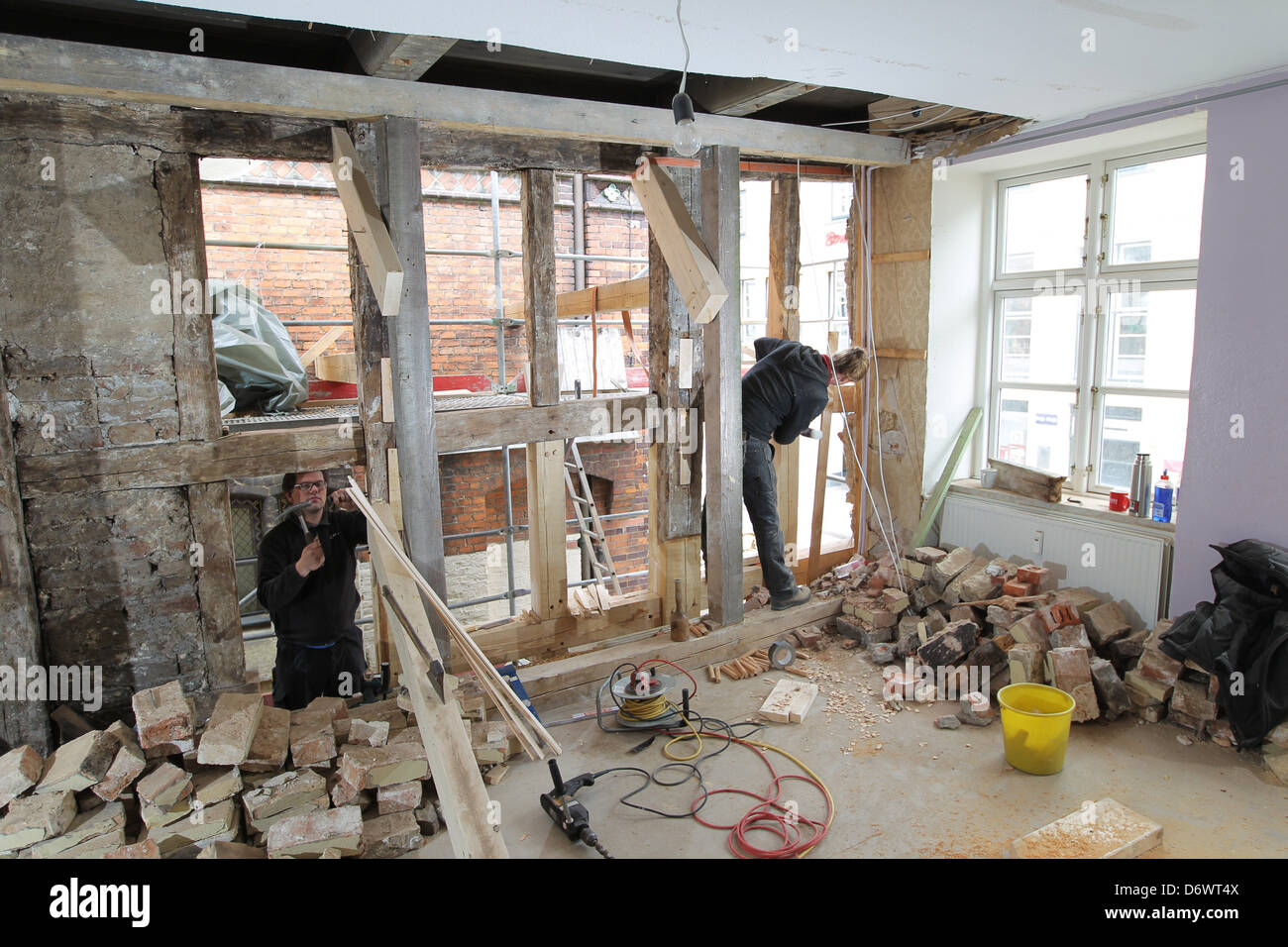 Germany House Wiring Not Lossing Diagram Half Switched Schematic Flensburg Sponge Renovation Of An Old Timbered Rh Alamy Com 120v Electrical Switch Diagrams Residential