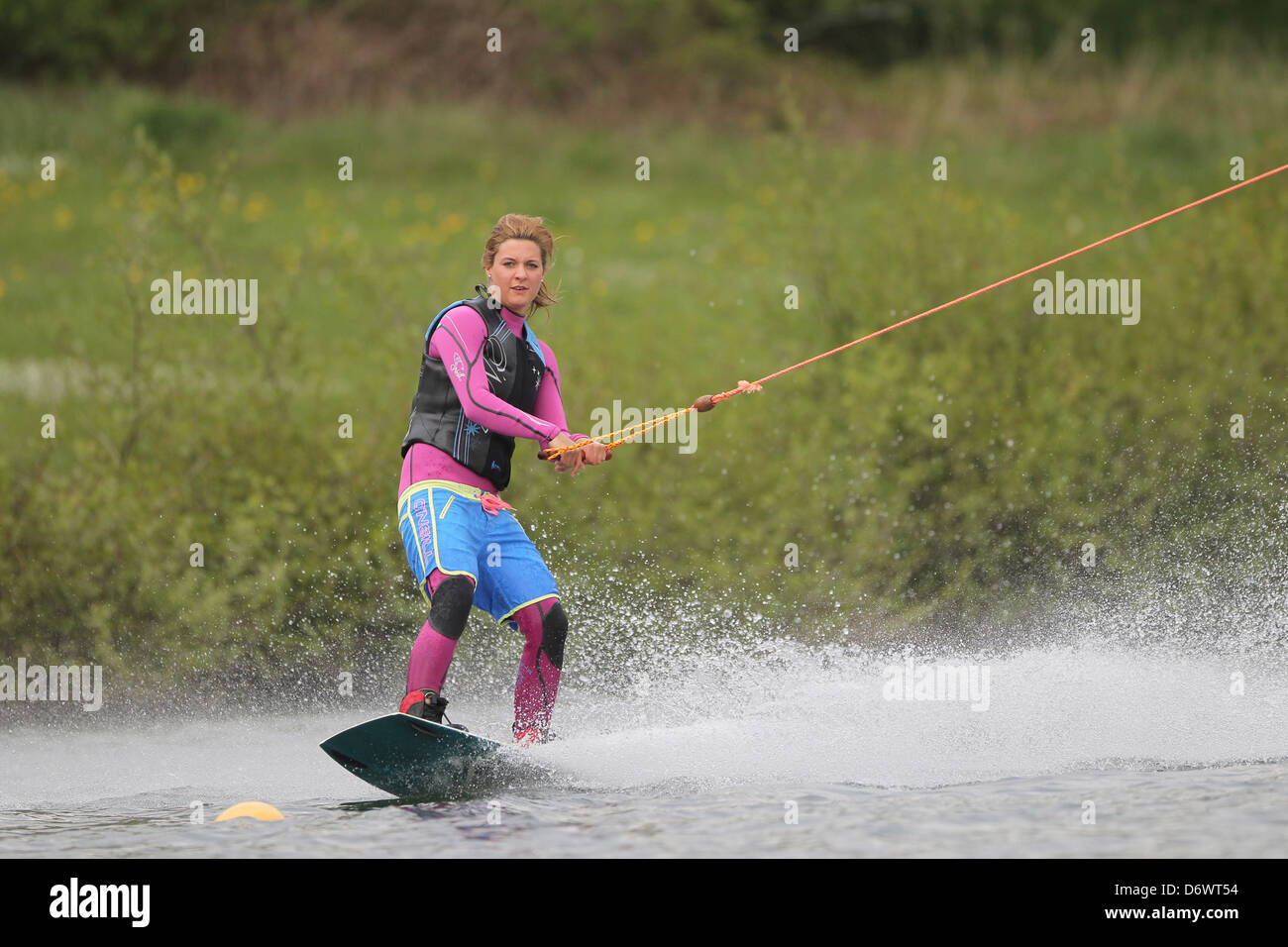 Jagel, Germany, wakeboarder at the water plant in Jagel - Stock Image